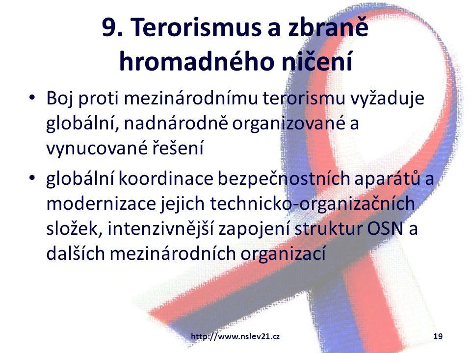 9. Terorismus a zbraně hromadného ničení Boj proti mezinárodnímu terorismu vyžaduje globální, nadnárodně organizované a vynucované řešení globální koo