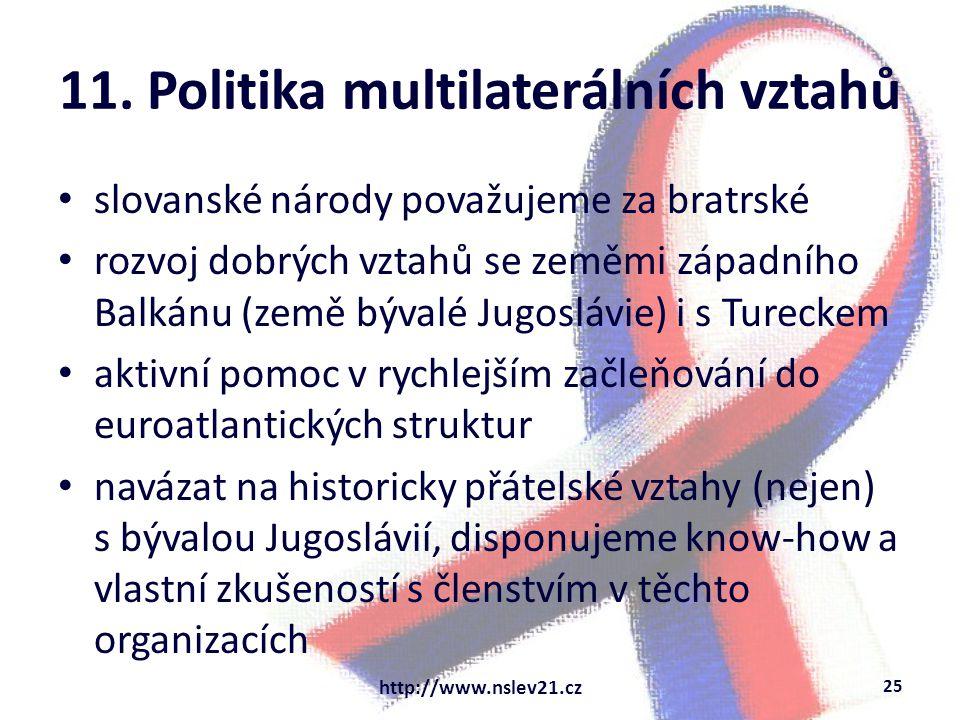 11. Politika multilaterálních vztahů slovanské národy považujeme za bratrské rozvoj dobrých vztahů se zeměmi západního Balkánu (země bývalé Jugoslávie