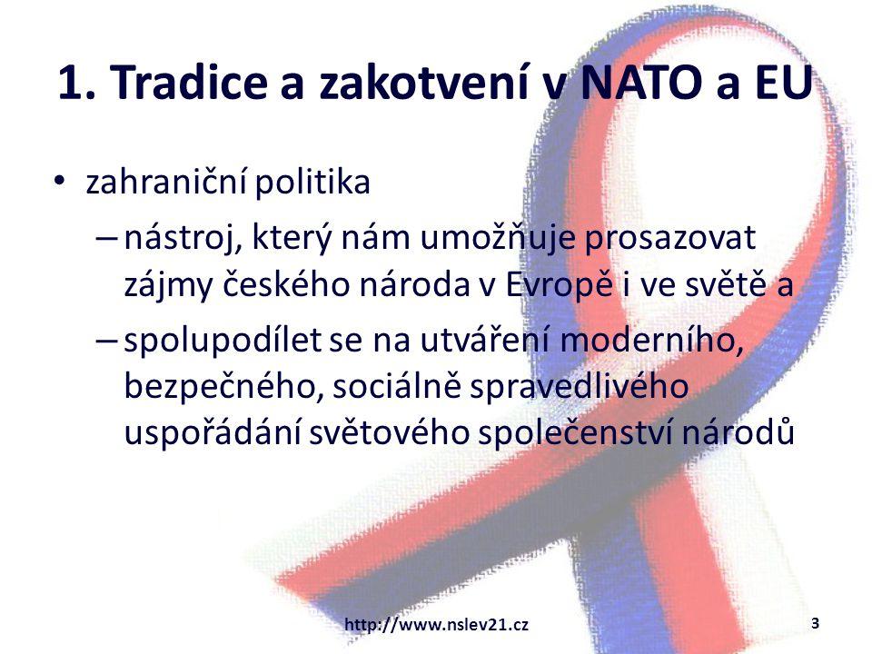 1. Tradice a zakotvení v NATO a EU zahraniční politika – nástroj, který nám umožňuje prosazovat zájmy českého národa v Evropě i ve světě a – spolupodí