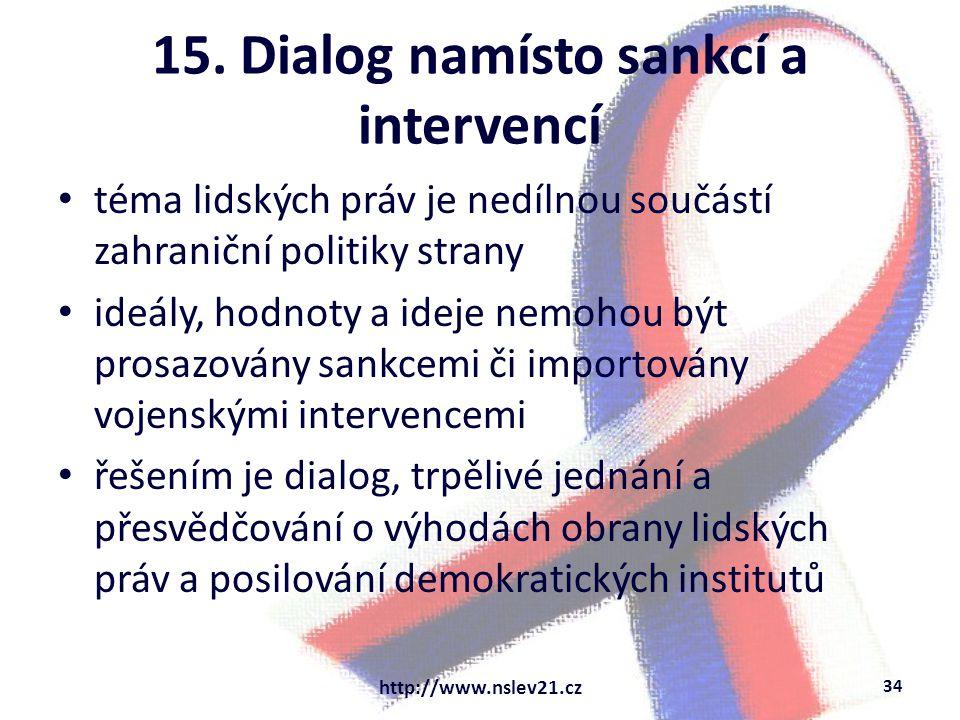 15. Dialog namísto sankcí a intervencí téma lidských práv je nedílnou součástí zahraniční politiky strany ideály, hodnoty a ideje nemohou být prosazov