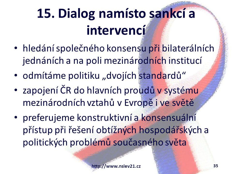 """15. Dialog namísto sankcí a intervencí hledání společného konsensu při bilaterálních jednáních a na poli mezinárodních institucí odmítáme politiku """"dv"""
