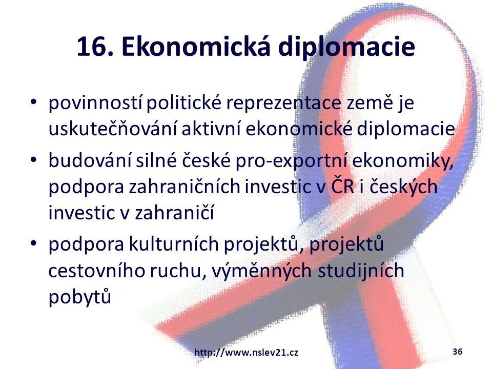 16. Ekonomická diplomacie povinností politické reprezentace země je uskutečňování aktivní ekonomické diplomacie budování silné české pro-exportní ekon