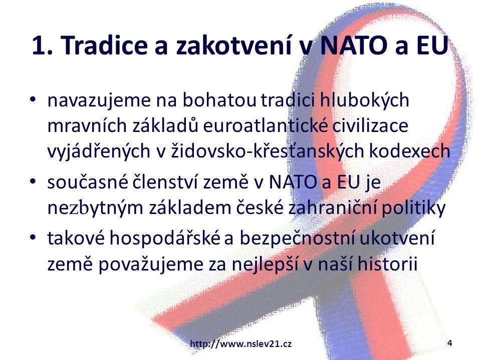 1. Tradice a zakotvení v NATO a EU navazujeme na bohatou tradici hlubokých mravních základů euroatlantické civilizace vyjádřených v židovsko-křesťansk