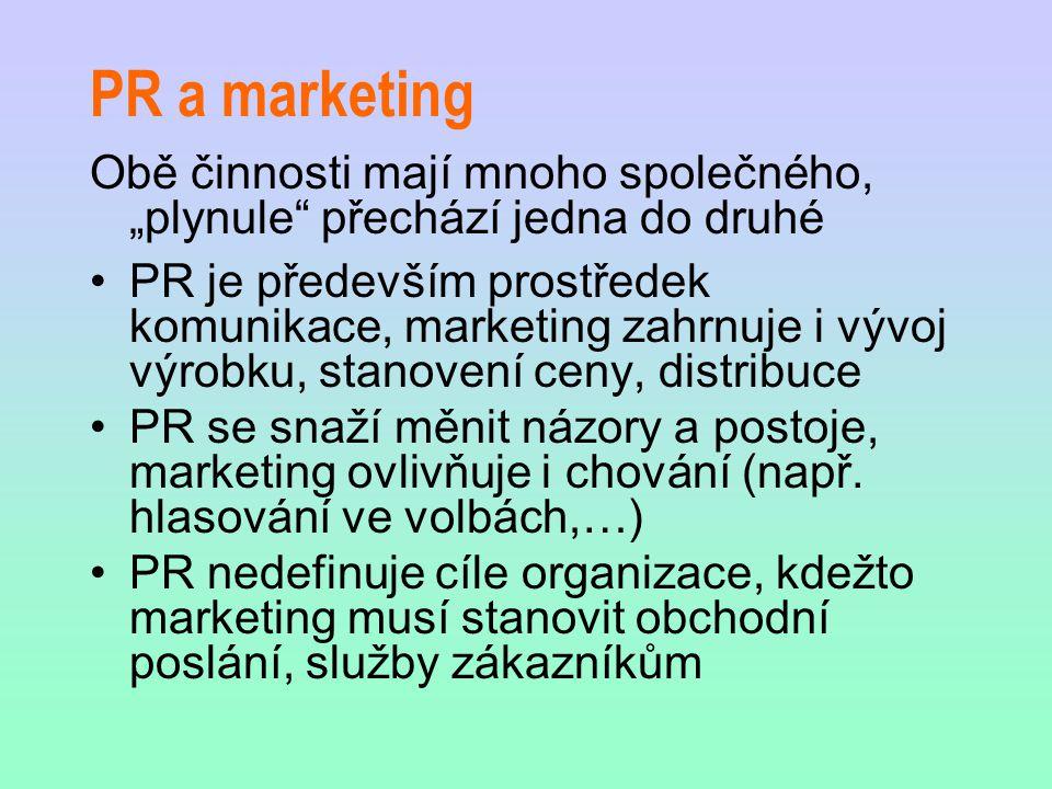 """PR a marketing Obě činnosti mají mnoho společného, """"plynule"""" přechází jedna do druhé PR je především prostředek komunikace, marketing zahrnuje i vývoj"""