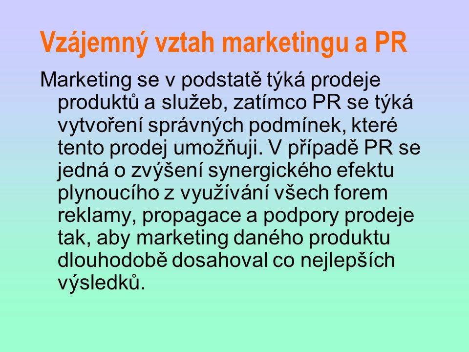 Vzájemný vztah marketingu a PR Marketing se v podstatě týká prodeje produktů a služeb, zatímco PR se týká vytvoření správných podmínek, které tento pr