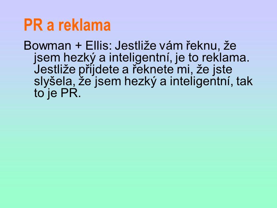 PR a reklama Bowman + Ellis: Jestliže vám řeknu, že jsem hezký a inteligentní, je to reklama. Jestliže přijdete a řeknete mi, že jste slyšela, že jsem