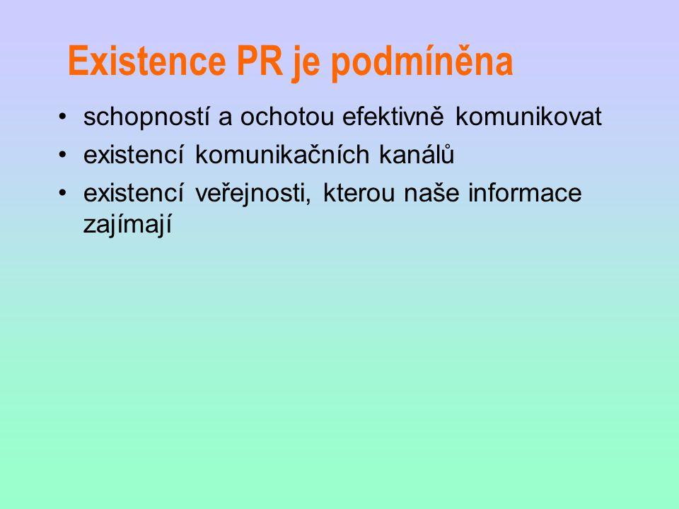 Existence PR je podmíněna schopností a ochotou efektivně komunikovat existencí komunikačních kanálů existencí veřejnosti, kterou naše informace zajíma