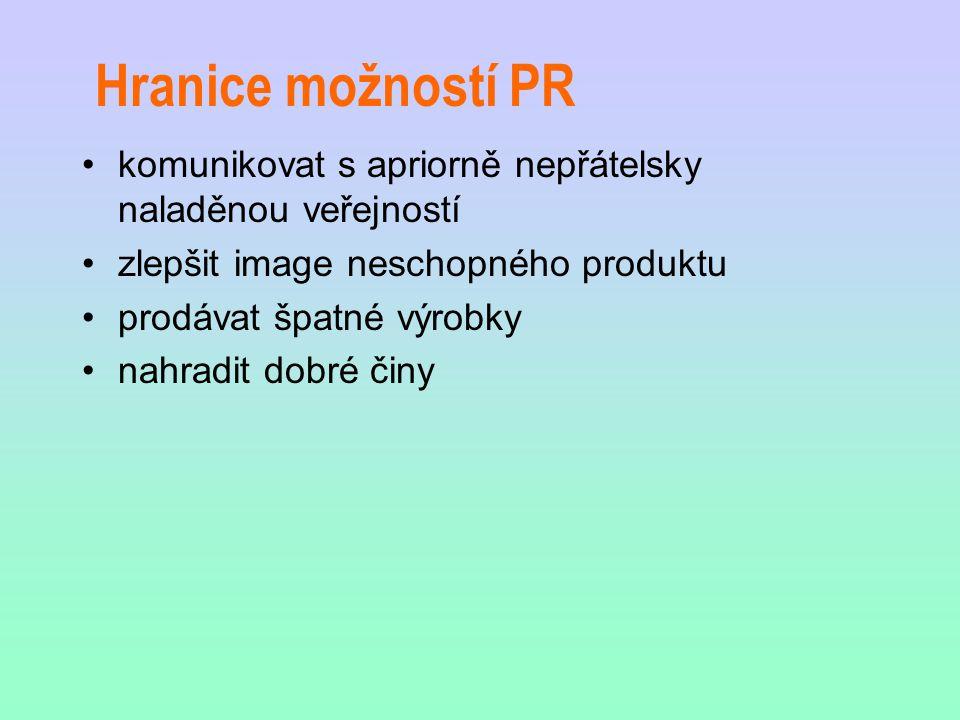 Hranice možností PR komunikovat s apriorně nepřátelsky naladěnou veřejností zlepšit image neschopného produktu prodávat špatné výrobky nahradit dobré