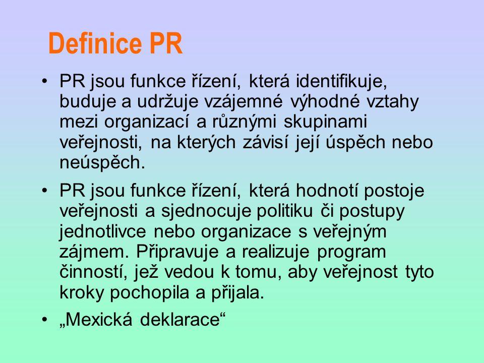 Definice PR PR jsou funkce řízení, která identifikuje, buduje a udržuje vzájemné výhodné vztahy mezi organizací a různými skupinami veřejnosti, na kte