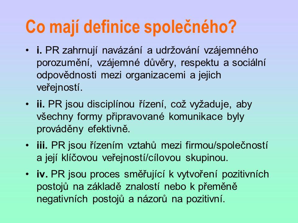 Co mají definice společného? i. PR zahrnují navázání a udržování vzájemného porozumění, vzájemné důvěry, respektu a sociální odpovědnosti mezi organiz