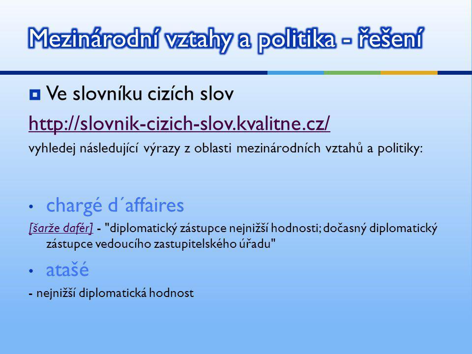  Ve slovníku cizích slov http://slovnik-cizich-slov.kvalitne.cz/ vyhledej následující výrazy z oblasti mezinárodních vztahů a politiky: chargé d´affa