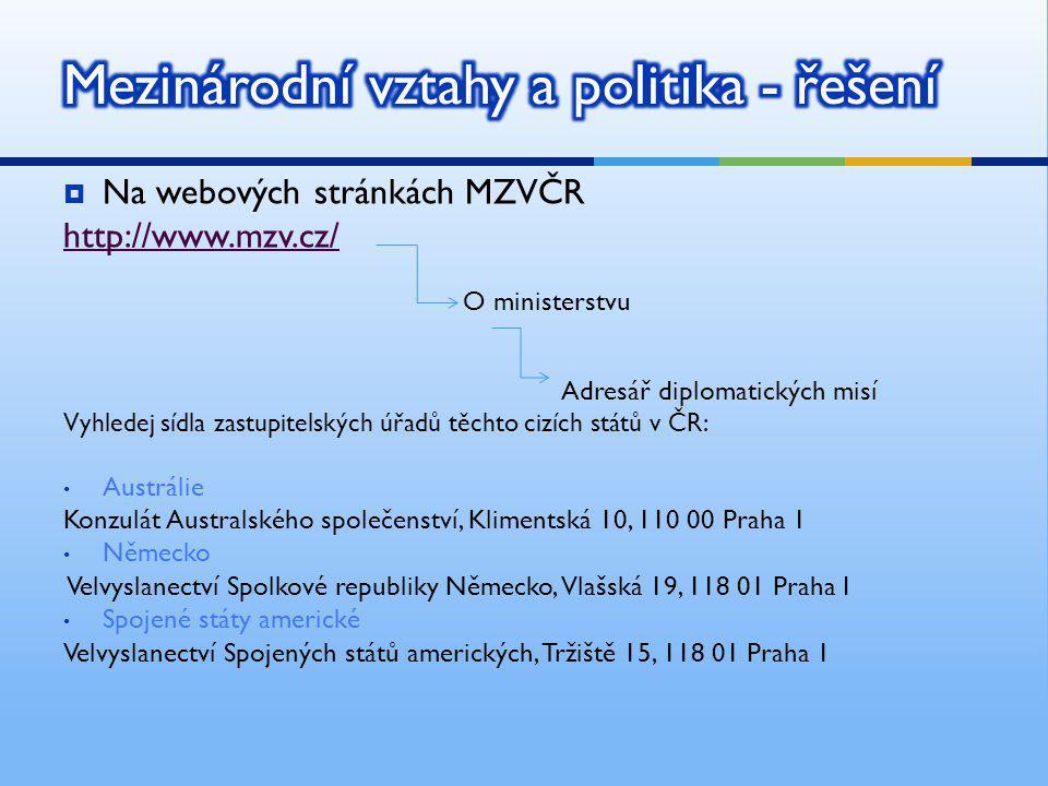  Na webových stránkách MZVČR http://www.mzv.cz/ O ministerstvu Adresář diplomatických misí Vyhledej sídla zastupitelských úřadů těchto cizích států v