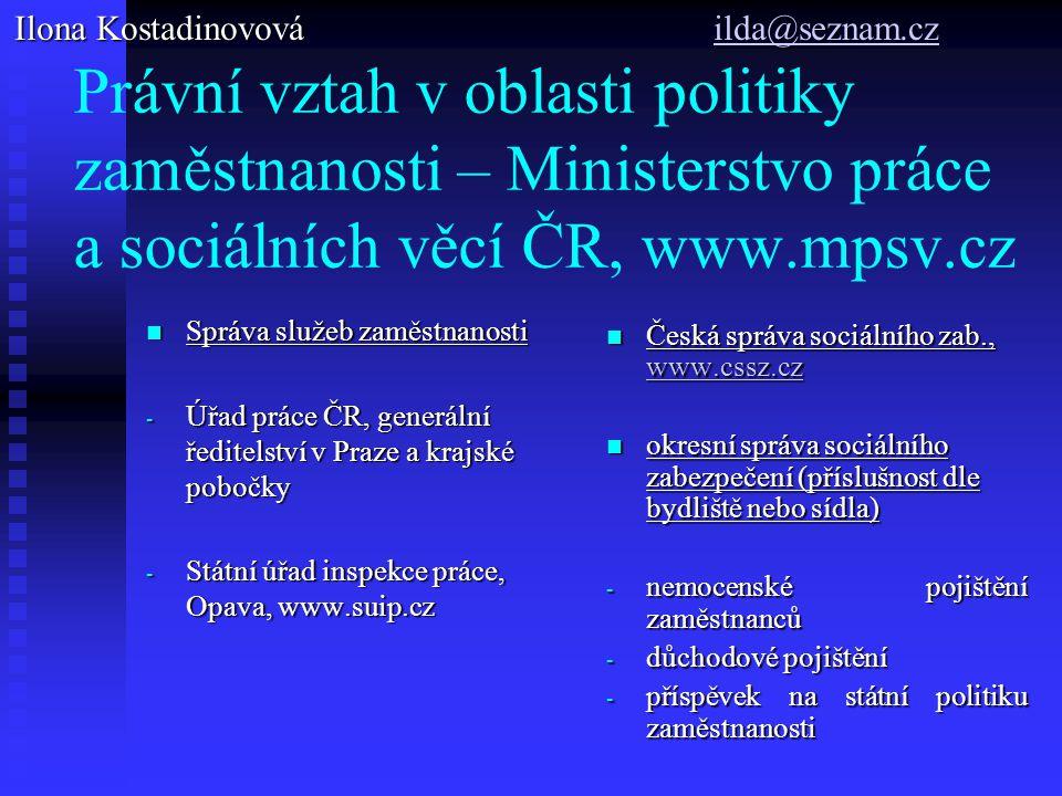 Právní vztah v oblasti politiky zaměstnanosti – Ministerstvo práce a sociálních věcí ČR, www.mpsv.cz Správa služeb zaměstnanosti Správa služeb zaměstn