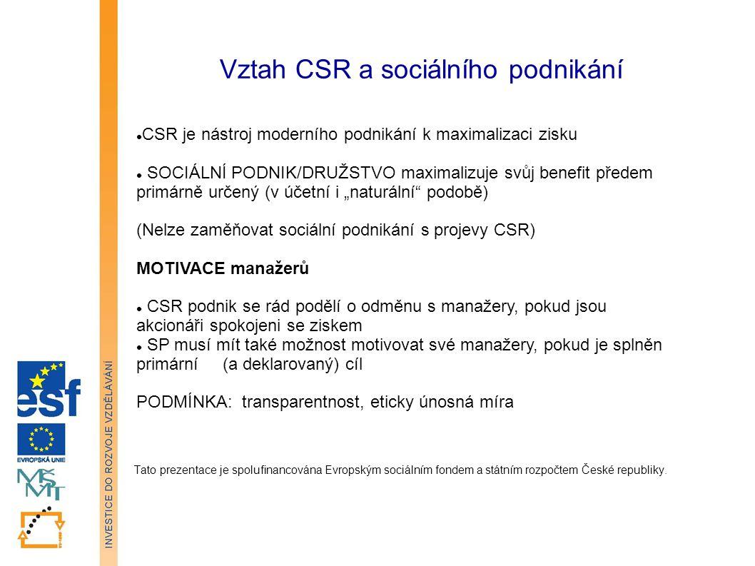 Vztah CSR a sociálního podnikání Tato prezentace je spolufinancována Evropským sociálním fondem a státním rozpočtem České republiky.