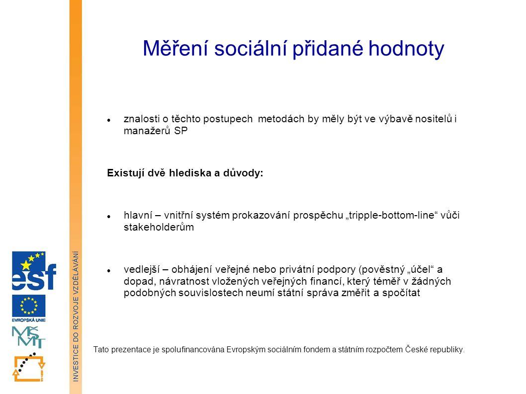 Měření sociální přidané hodnoty Tato prezentace je spolufinancována Evropským sociálním fondem a státním rozpočtem České republiky.