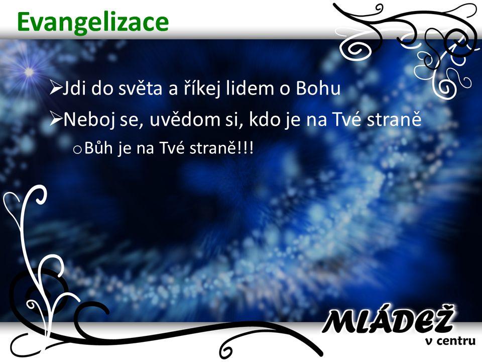Evangelizace  Jdi do světa a říkej lidem o Bohu  Neboj se, uvědom si, kdo je na Tvé straně o Bůh je na Tvé straně!!!