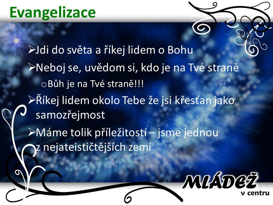 Evangelizace  Jdi do světa a říkej lidem o Bohu  Neboj se, uvědom si, kdo je na Tvé straně o Bůh je na Tvé straně!!!  Říkej lidem okolo Tebe že jsi
