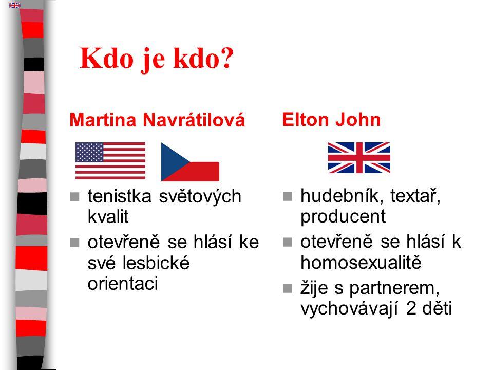 Kdo je kdo? Martina Navrátilová tenistka světových kvalit otevřeně se hlásí ke své lesbické orientaci Elton John hudebník, textař, producent otevřeně