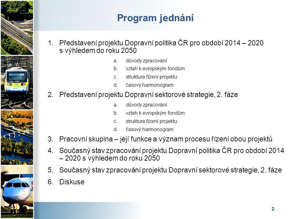 2 Program jednání 1.Představení projektu Dopravní politika ČR pro období 2014 – 2020 s výhledem do roku 2050 a.důvody zpracování b.vztah k evropským fondům c.struktura řízení projektu d.časový harmonogram 2.Představení projektu Dopravní sektorové strategie, 2.