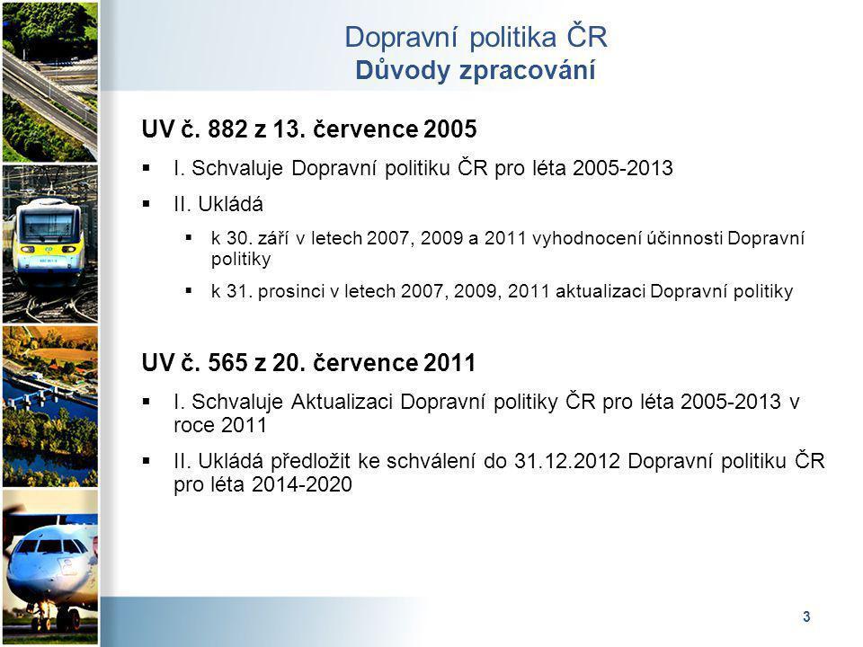 4 Dopravní politika ČR Vztah k evropským fondům Dopravní politika pro léta 2014 – 2020 s výhledem do roku 2050 bude vrcholovým strategickým dokumentem sektoru doprava Jednotlivé oblasti budou podrobně rozpracovány v návazných strategických dokumentech – jedním z nich budou Dopravní sektorové strategie