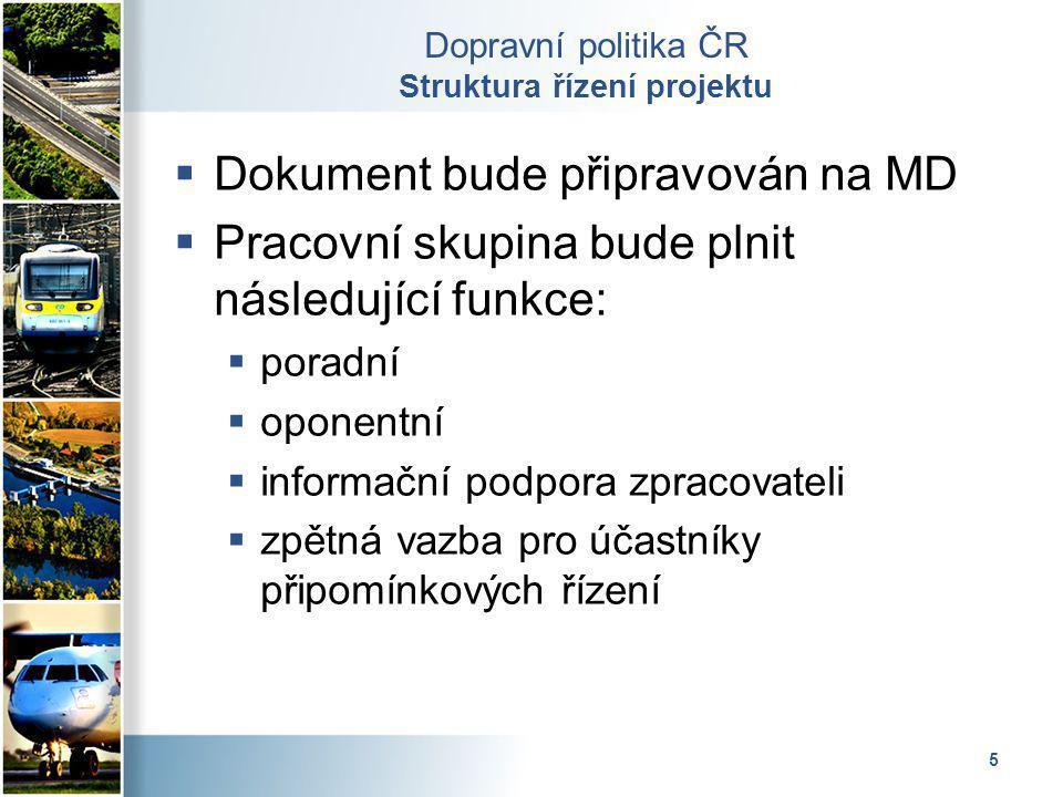 5 Dopravní politika ČR Struktura řízení projektu  Dokument bude připravován na MD  Pracovní skupina bude plnit následující funkce:  poradní  opone