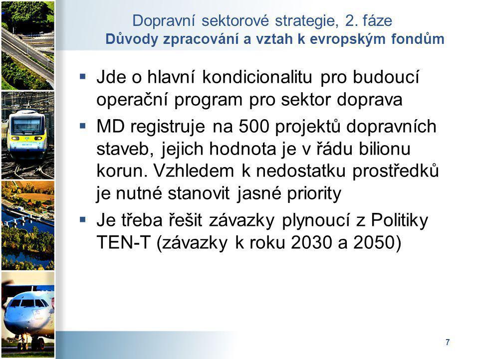 7 Dopravní sektorové strategie, 2. fáze Důvody zpracování a vztah k evropským fondům  Jde o hlavní kondicionalitu pro budoucí operační program pro se