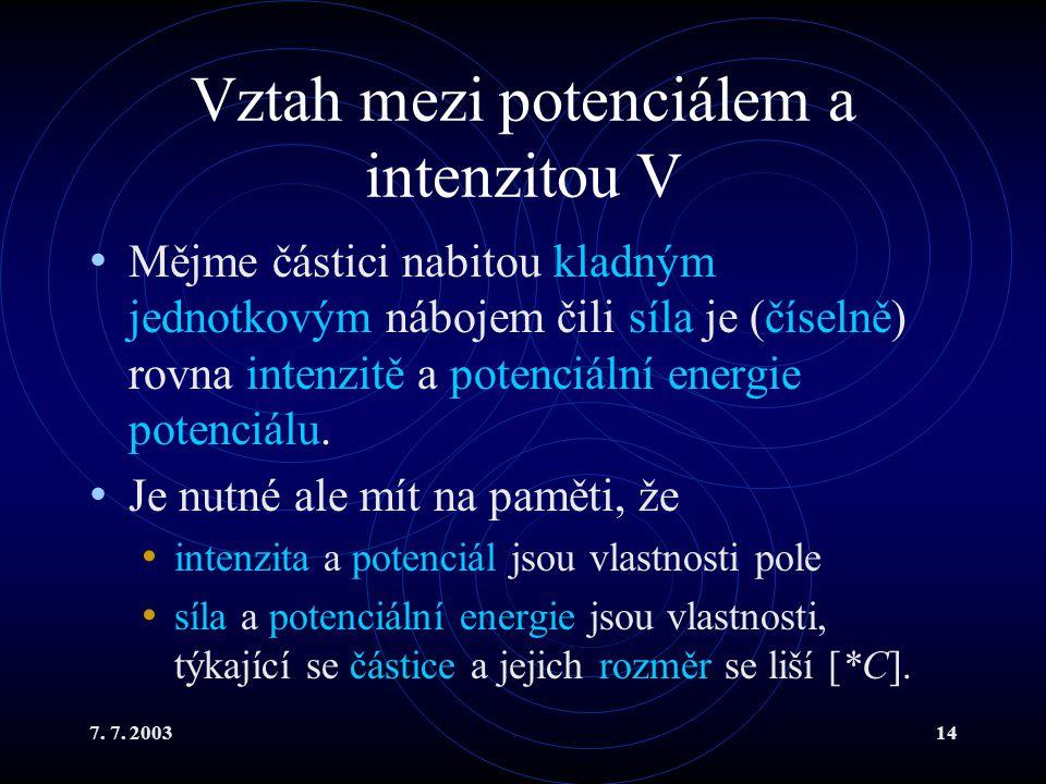7. 7. 200314 Vztah mezi potenciálem a intenzitou V Mějme částici nabitou kladným jednotkovým nábojem čili síla je (číselně) rovna intenzitě a potenciá
