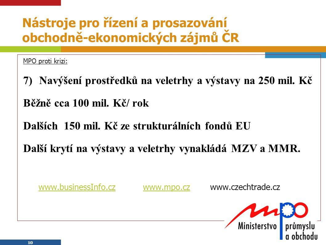 10 Nástroje pro řízení a prosazování obchodně-ekonomických zájmů ČR MPO proti krizi: 7)Navýšení prostředků na veletrhy a výstavy na 250 mil. Kč Běžně