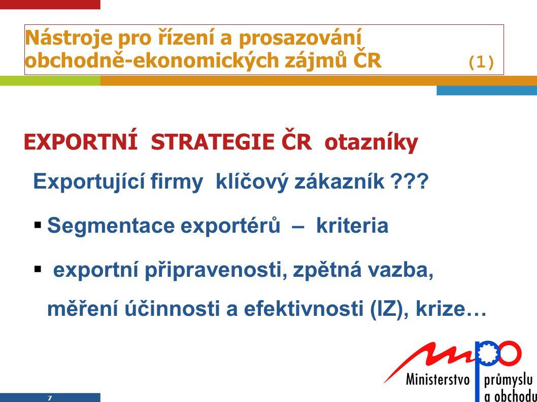 7 7 Nástroje pro řízení a prosazování obchodně-ekonomických zájmů ČR (1) EXPORTNÍ STRATEGIE ČR otazníky Exportující firmy klíčový zákazník ???  Segme