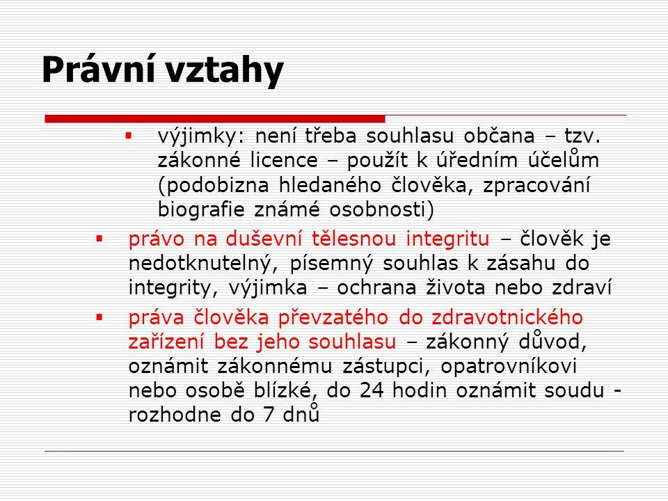  výjimky: není třeba souhlasu občana – tzv. zákonné licence – použít k úředním účelům (podobizna hledaného člověka, zpracování biografie známé osobno