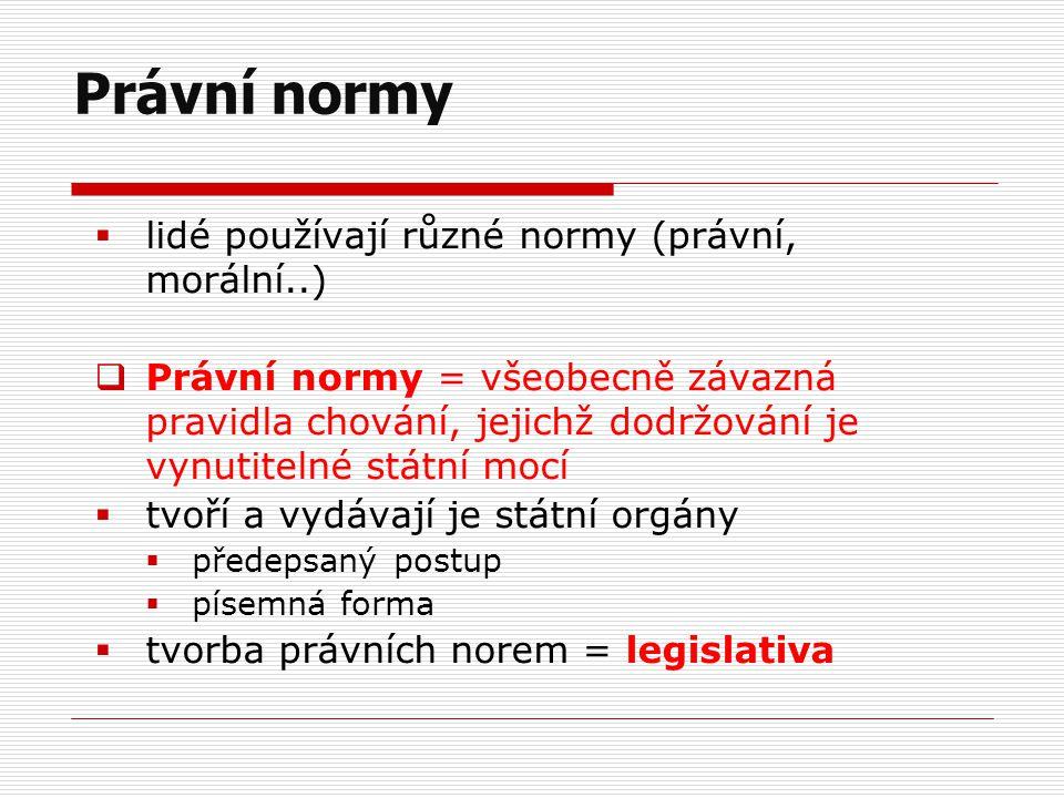  lidé používají různé normy (právní, morální..)  Právní normy = všeobecně závazná pravidla chování, jejichž dodržování je vynutitelné státní mocí 