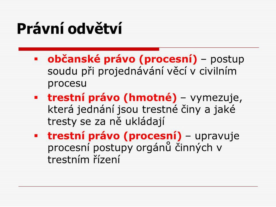  občanské právo (procesní) – postup soudu při projednávání věcí v civilním procesu  trestní právo (hmotné) – vymezuje, která jednání jsou trestné či