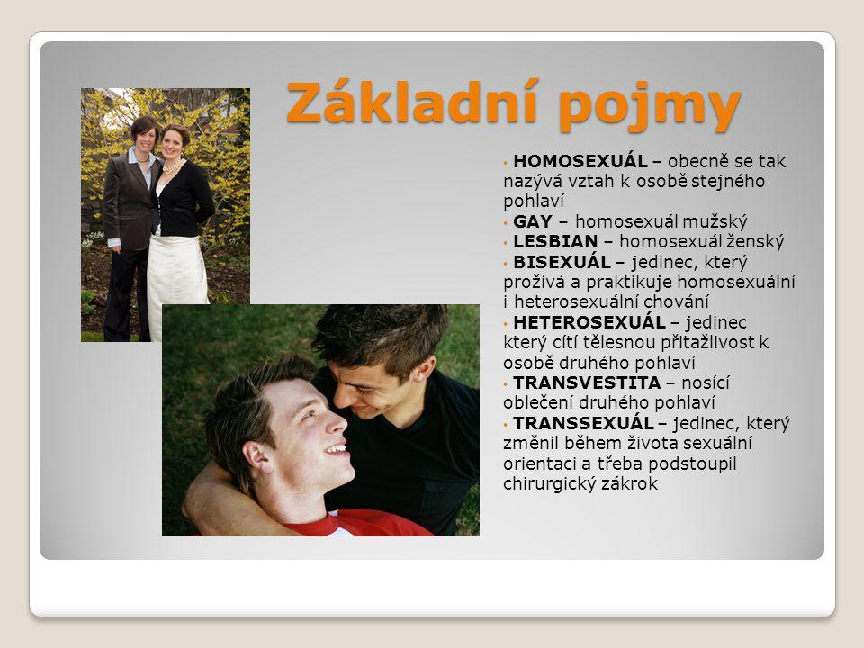 Základní pojmy HOMOSEXUÁL – obecně se tak nazývá vztah k osobě stejného pohlaví GAY – homosexuál mužský LESBIAN – homosexuál ženský BISEXUÁL – jedinec