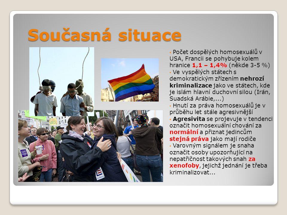 Současná situace Počet dospělých homosexuálů v USA, Francii se pohybuje kolem hranice 1,1 – 1,4% (někde 3-5 %) Ve vyspělých státech s demokratickým zř