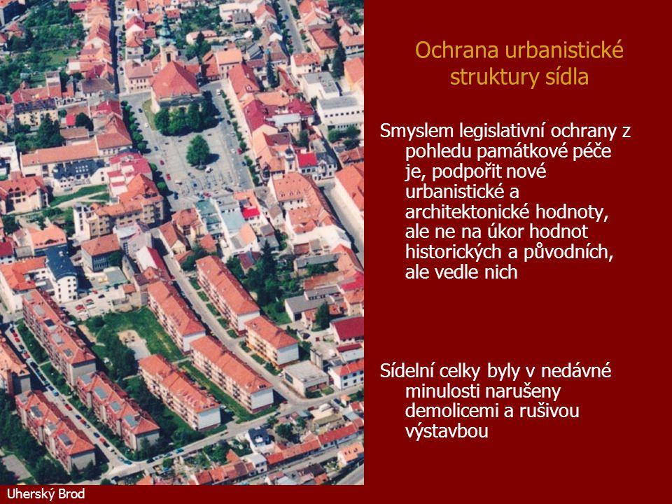 Ochrana urbanistické struktury sídla Smyslem legislativní ochrany z pohledu památkové péče je, podpořit nové urbanistické a architektonické hodnoty, a
