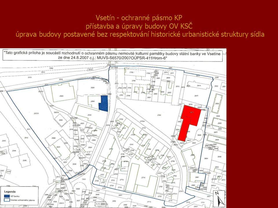 Vsetín - ochranné pásmo KP přístavba a úpravy budovy OV KSČ úprava budovy postavené bez respektování historické urbanistické struktury sídla