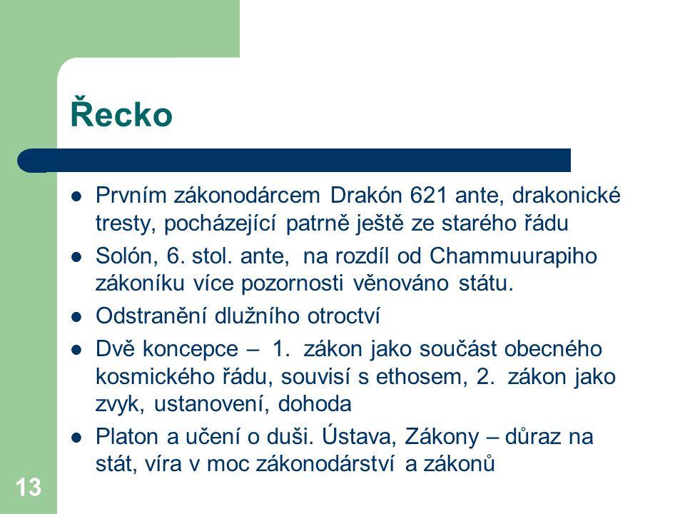 13 Řecko Prvním zákonodárcem Drakón 621 ante, drakonické tresty, pocházející patrně ještě ze starého řádu Solón, 6. stol. ante, na rozdíl od Chammuura