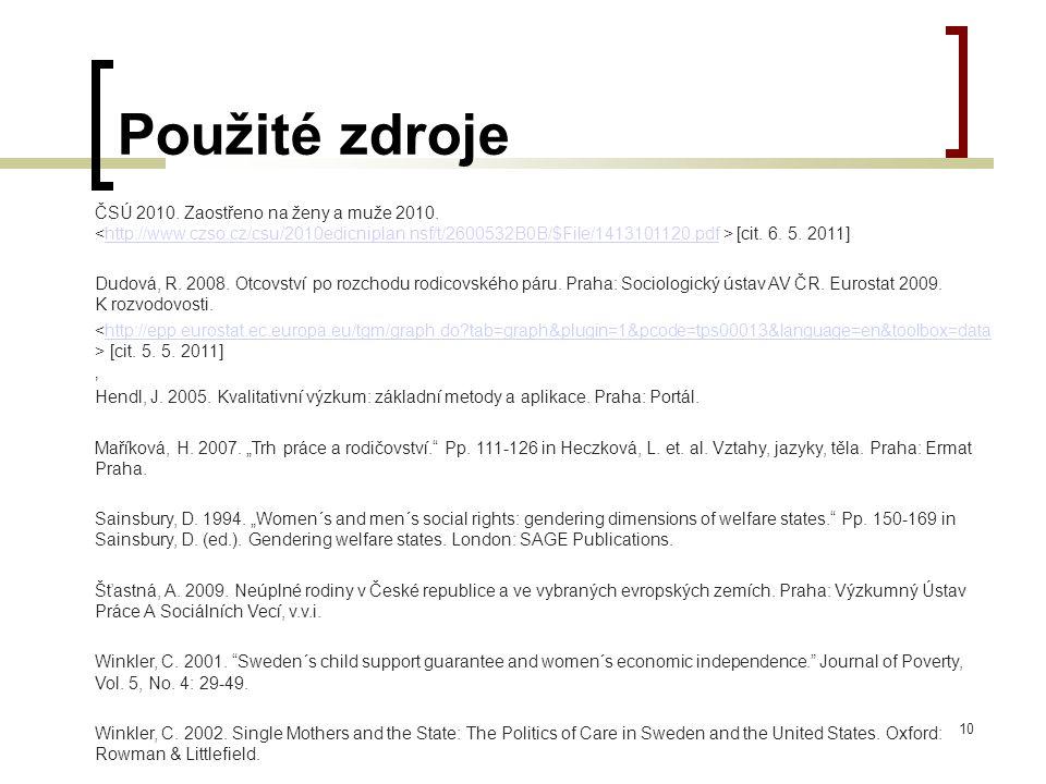 Použité zdroje ČSÚ 2010. Zaostřeno na ženy a muže 2010. [cit. 6. 5. 2011]http://www.czso.cz/csu/2010edicniplan.nsf/t/2600532B0B/$File/1413101120.pdf D