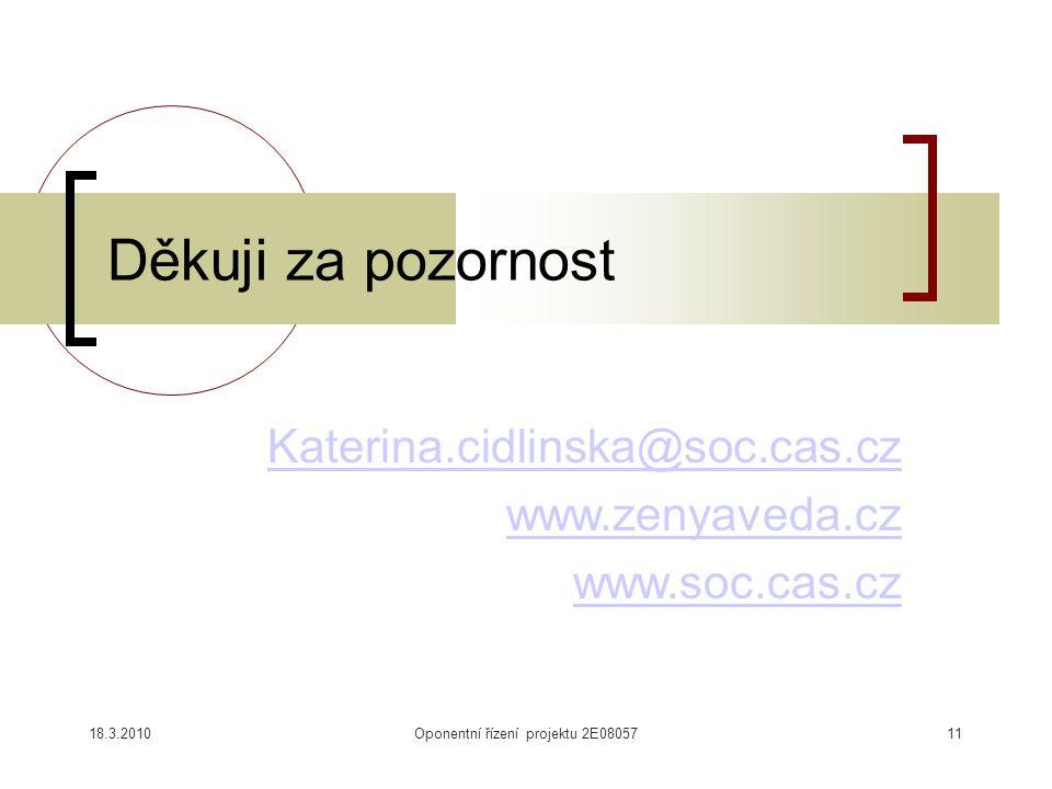 Katerina.cidlinska@soc.cas.cz www.zenyaveda.cz www.soc.cas.cz Děkuji za pozornost 18.3.2010Oponentní řízení projektu 2E0805711