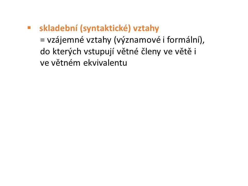  skladební (syntaktické) vztahy = vzájemné vztahy (významové i formální), do kterých vstupují větné členy ve větě i ve větném ekvivalentu