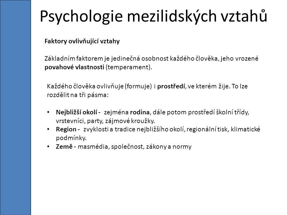 Psychologie mezilidských vztahů Faktory ovlivňující vztahy Základním faktorem je jedinečná osobnost každého člověka, jeho vrozené povahové vlastnosti (temperament).