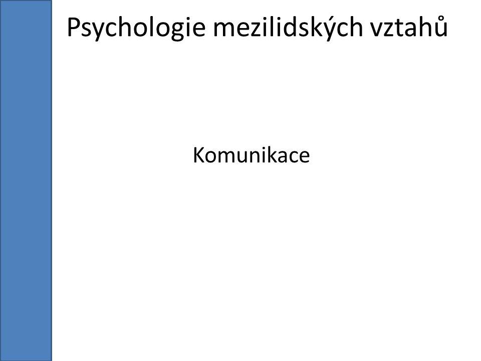 Psychologie mezilidských vztahů Komunikace
