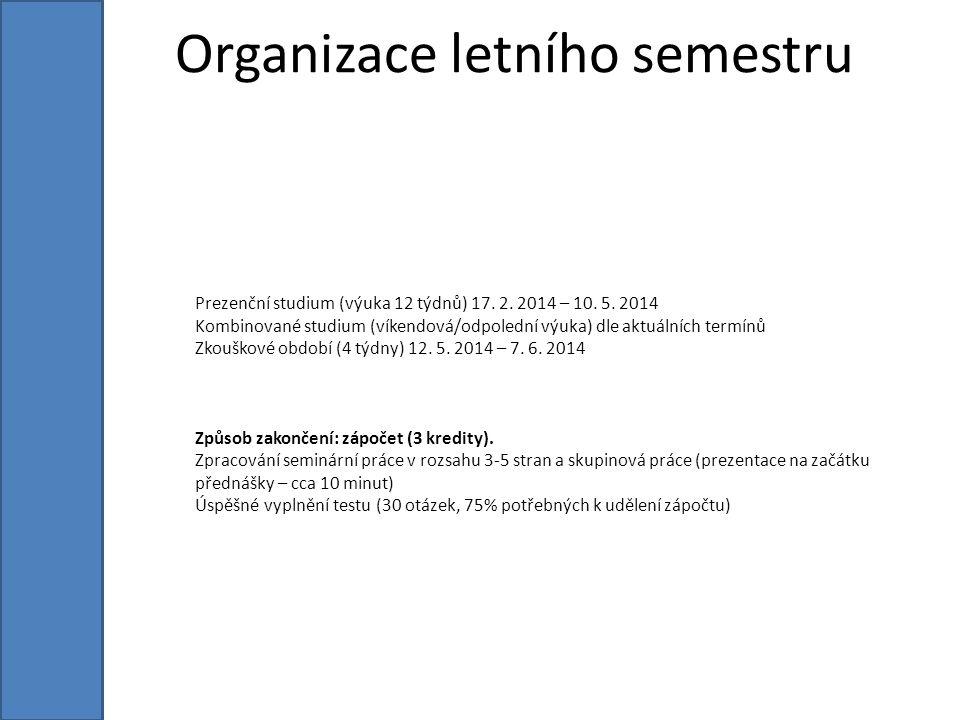Prezenční studium (výuka 12 týdnů) 17. 2. 2014 – 10.