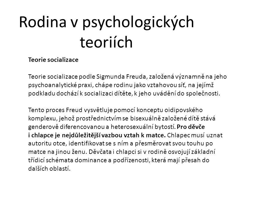 Rodina v psychologických teoriích Teorie socializace Teorie socializace podle Sigmunda Freuda, založená významně na jeho psychoanalytické praxi, chápe rodinu jako vztahovou síť, na jejímž podkladu dochází k socializaci dítěte, k jeho uvádění do společnosti.