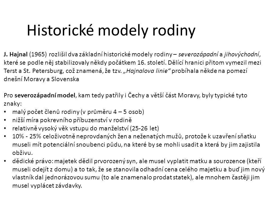 Historické modely rodiny J. Hajnal (1965) rozlišil dva základní historické modely rodiny – severozápadní a jihovýchodní, které se podle něj stabilizov