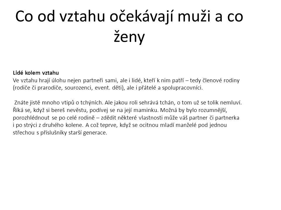 Co od vztahu očekávají muži a co ženy Každý šestý občan ČR přiznává násilí ve svém partnerském vztahu, tzn.