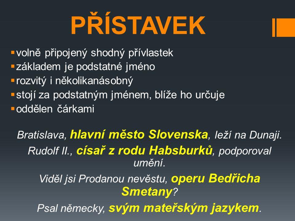 PŘÍSTAVKOVÝ VZTAH  členy v přístavkovém vztahu mají stejné postavení ve stavbě věty – označují jeden jev, který různým způsobem pojmenovávají 1) Tomáš Garrigue Masaryk, první československý prezident, se narodil v roce 1850 v Hodoníně.