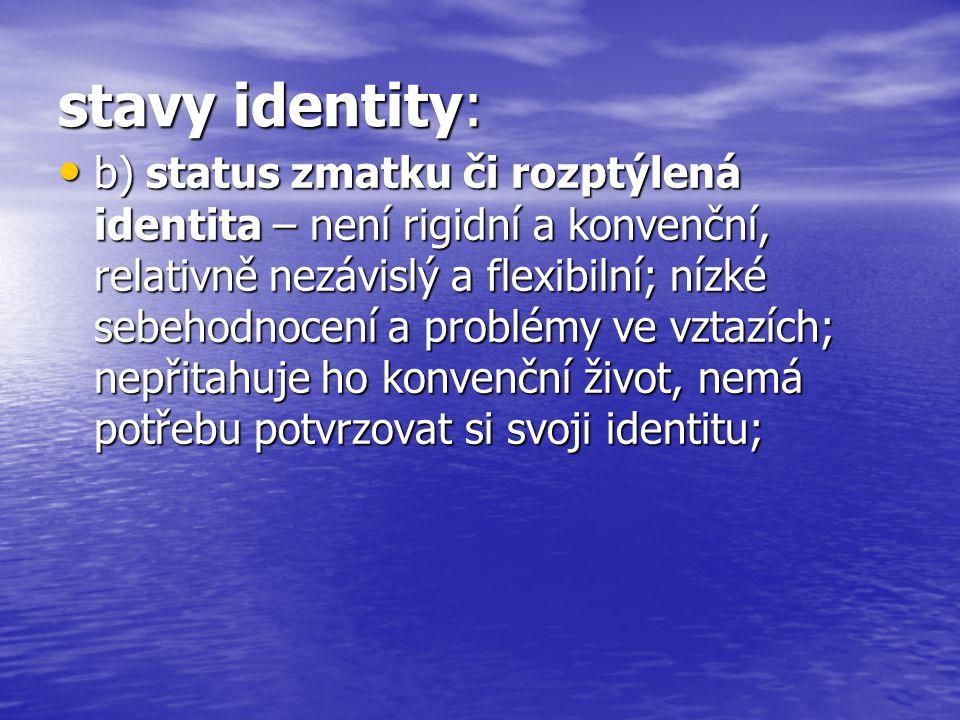 stavy identity: b) status zmatku či rozptýlená identita – není rigidní a konvenční, relativně nezávislý a flexibilní; nízké sebehodnocení a problémy ve vztazích; nepřitahuje ho konvenční život, nemá potřebu potvrzovat si svoji identitu; b) status zmatku či rozptýlená identita – není rigidní a konvenční, relativně nezávislý a flexibilní; nízké sebehodnocení a problémy ve vztazích; nepřitahuje ho konvenční život, nemá potřebu potvrzovat si svoji identitu;