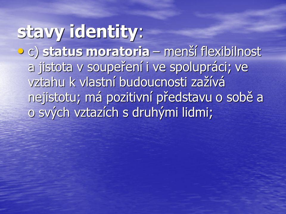 stavy identity: c) status moratoria – menší flexibilnost a jistota v soupeření i ve spolupráci; ve vztahu k vlastní budoucnosti zažívá nejistotu; má pozitivní představu o sobě a o svých vztazích s druhými lidmi; c) status moratoria – menší flexibilnost a jistota v soupeření i ve spolupráci; ve vztahu k vlastní budoucnosti zažívá nejistotu; má pozitivní představu o sobě a o svých vztazích s druhými lidmi;