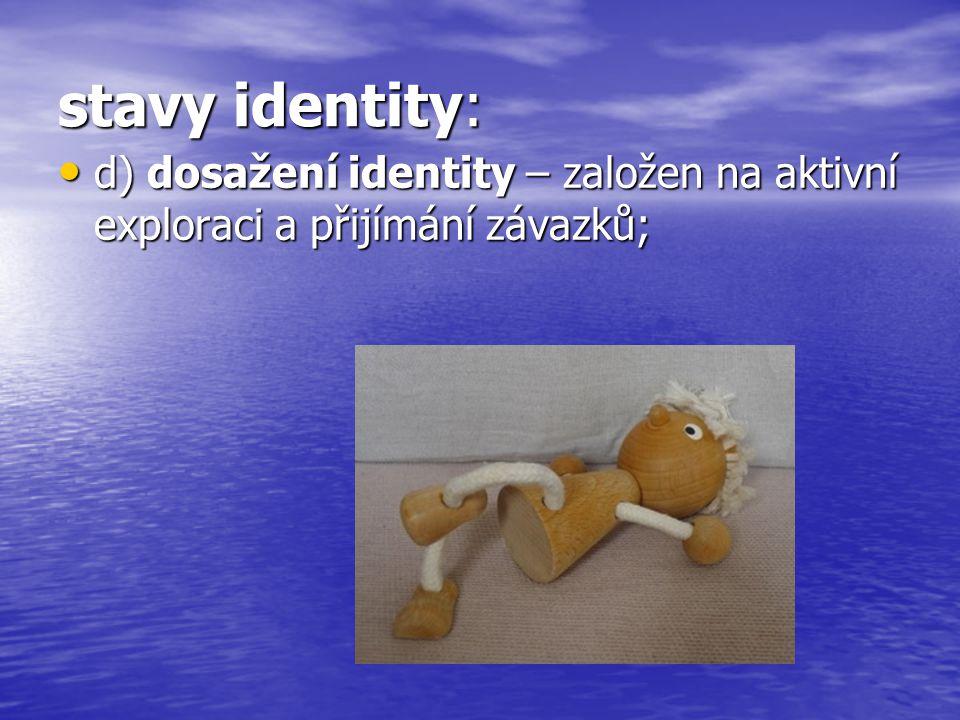 stavy identity: d) dosažení identity – založen na aktivní exploraci a přijímání závazků; d) dosažení identity – založen na aktivní exploraci a přijímání závazků;